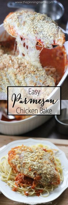 Easy Chicken Parmesan Bake Recipe- 5 ingredient one dish dinner!  Love that there is almost NO clean up and holy moly this this delicious!! Better than the original and healthy!