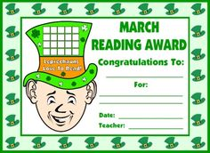 This is a cute leprechaun reading award certificate that you could present to your students in March.