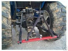 This is a Funkworkz Stabilizer (Gray item) that fits any category 1 or 2 drawbar (red) that has the two outside holes 20 apart center to center. Tractor Drawbar, Ford Tractors, Motorcycle Camping, Camping Gear, Tractor Accessories, Tractor Implements, Tractor Attachments, Compact Tractors, Farm Tools