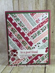 Lovin' the Love Blossoms designer series paper!  Check out this beauty, you'll want to pin this so you can make a card with your favorite papers!  http://www.stampinbj.com/2015/12/loving-the-love-blossoms.html