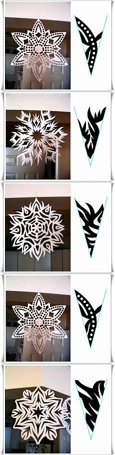 More pretty paper snowflakes Paper Snowflakes, Christmas Snowflakes, Christmas Paper, Christmas Ornaments, Paper Snowflake Patterns, Paper Cutting Patterns, Holiday Crafts, Fun Crafts, Diy And Crafts