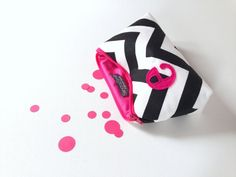 Hot Pink & Black Chevron Personalized Makeup Gift Bag. Bachelorette Bridal Party Gift. For Emergency Kits.