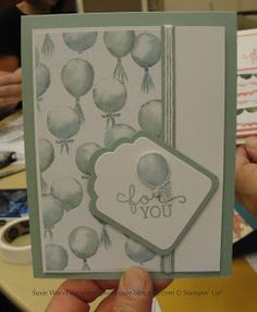Stampin' Up!- Check out this balloon card using the Birthday Bouquet Designer Paper in the Occasions Catalog, along with the coordinating stamp set- 'Birthday Blooms'