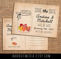 Jar of Hearts Save the Date Card Vintage Rustic by inoroutmedia, Invitation Paper, Rustic Invitations, Wedding Invitation Design, Wedding Stationary, Invitation Ideas, Rustic Wedding Save The Dates, Wedding Rustic, Casual Wedding, Farm Wedding