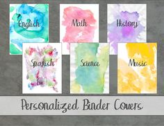 Personalized Watercolor Binder Covers  by ChasingCreatives on Etsy