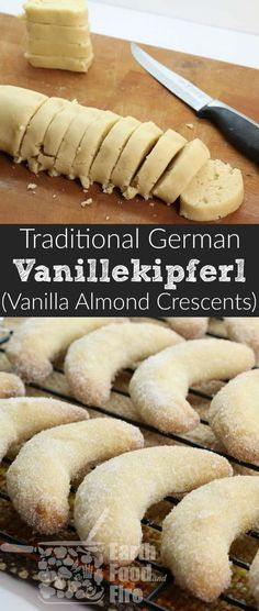 Vanillekipferl Cookies (German Vanilla Almond Crescents) A light shortbread like almond and vanilla cookie, perfect during the holidays. So easy to make and can be shaped however you like! German Christmas Cookies, German Cookies, Xmas Cookies, Dutch Cookies, Vanilla Cookies, Almond Cookies, Nutella Biscuits, Cookies Et Biscuits, Holiday Baking