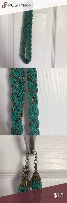 Francesca's turquoise beaded statement necklace Turquoise and gold beaded necklace. Slight tarnish on metal closure- but not bad. Francesca's Collections Jewelry Necklaces