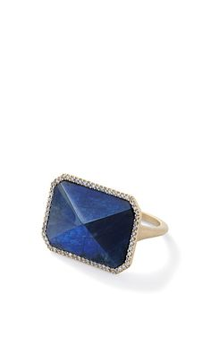 Shop Spectrolite And White Diamond Rectangular Ring by Monique Péan for Preorder on Moda Operandi