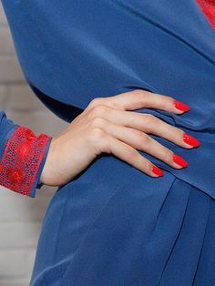Long, Almond-Shaped Nails with bright red polish - Wes Gordon