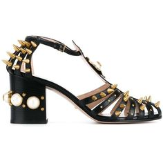 Gucci mid-heel studded sandal ($1,680) ❤ liked on Polyvore featuring shoes, sandals, black, black sandals, gucci, studded sandals, gucci shoes and kohl shoes