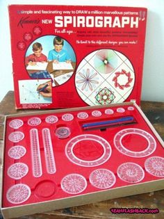 I remember playing with these at grandma's house. KENNER: 1967 Spirograph Set I remember playing with these at grandma's house. My Childhood Memories, Childhood Toys, Sweet Memories, 80s Kids, Retro Toys, 1970s Toys, Vintage Toys 80s, My Memory, Old Toys