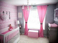 pink and grey gray owl tree wall mural decal for baby girl nursery