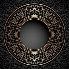 Illustration of Vintage background, gold ornamental label, round frame template vector art, clipart and stock vectors. J5 Wallpaper, Wallpaper Backgrounds, Vintage Backgrounds, Wallpapers, Islamic Art Pattern, Pattern Art, Art Deco Design, Artwork Design, Background Vintage