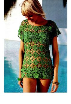 Vintage 70s Pattern Crochet Bikini COVERUP door KinsieWoolShop, $3.20