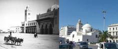 Early 20th c. and 2013 views of facades on Jamaa al-Jadid, aka Mosquée de la Pecherie  , constructed 1660 in Algiers. The clock was added in the 19th c.