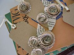 Vintage Paper Rose Wedding Place Card Gift Tag by cariadgifts,