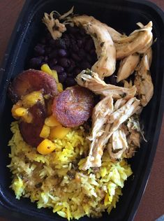 Cuban Chicken, Black Beans, and Yellow Rice with Friend Plaintains and Mangoes  -- Evensen Personal Menus
