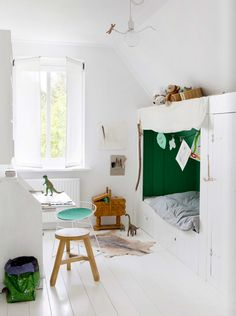bright white & green kids room...