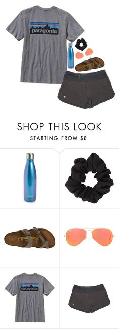 """"""""""" by graceturnipseed ❤ liked on Polyvore featuring S'well, Miss Selfridge, Birkenstock, Ray-Ban, Patagonia and lululemon"""