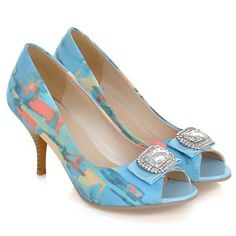 Stylish Women's Peep Toed Shoes With Print and Rhinestones Design