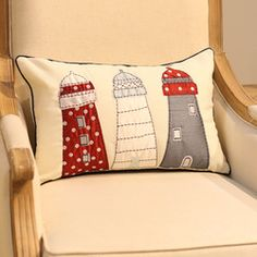 Online Shop Free Shipping 10 Pcs/Lot Lighthouse pattern handmade applique embroidered pillow set sofa cushion set|Aliexpress Mobile