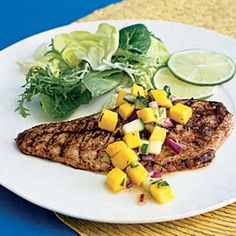 This delicate snapper with mango salsa will satisfy your seafood craving. #dinner #recipe