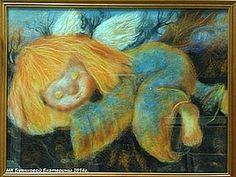 МК Екатерины Буянковой по сухой живописи шерстью под стекло - Ярмарка Мастеров - ручная работа, handmade