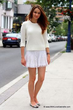 Summer White on White -  I am wearing Gap pullover and a BCBG Max Azria skirt
