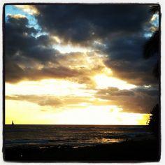 Sunset at Piopu Beach in Kauai.