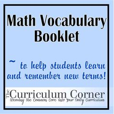Math Vocabulary Booklet
