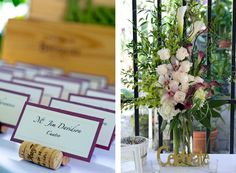 Sign in table with unique cork escort card holders. Made with love by brides mom <3 www.EventsOnABudget.com