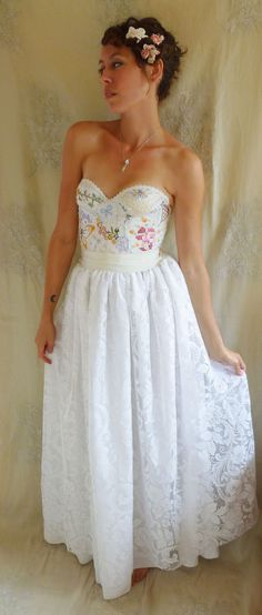 Meadow Bustier Wedding Gown... Size XS/S... boho alternative dress woodland fairy vintage inspired whimsical country eco friendly by Jada Dreaming on Etsy $300