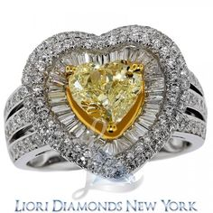 3.68 Carat Fancy Yellow Heart Shape Diamond Engagement Ring 18k Gold Pave Halo - Fancy Color Engagement Rings - Engagement - Lioridiamonds.com