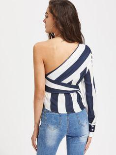 Sheinside Oblique Shoulder Color Block Top Bow Tie Slim Summer One Shoulder Shirt Striped Blouse Diva Fashion, Korean Fashion, Trendy Fashion, Fashion Outfits, One Shoulder Shirt, One Shoulder Tops, Women Bow Tie, Women Sleeve, Striped Fabrics