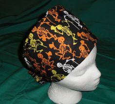 Halloween Scrubs Scrub Caps Pixie Hat Fun Surgical Hats OR Cap Hospital Hats DANCING BONES