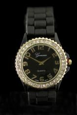 Crystal Large Round Face Black/gold Silicone Watch www.sterlingjewelrystores.com