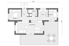 Bungalow bauen mit zwei FlyingSpace Wohnmodulen | SchwörerHaus Home Projects, Planer, Tiny House, Engineering, Floor Plans, Spaces, Mobile House, Work Spaces, Tiny Houses