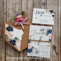 affordable navy blue and blush pink floral wedding invitations SWPI104 #wedding #weddinginvitations#stylishwedd #stylishweddinvitations #vellumweddinginvitations