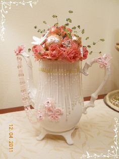 Teapot Decor HM Shabby cottage chic Center Piece Roses Bling Pearls on Handmade Artists' Shop $65.00