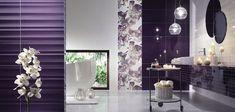 11-baie moderna combinatie de faianta alb si mov inchis Modern Bathroom Decor, Modern Decor, Diy Wall Art, Wall Decor, Purple Bathrooms, Pink Room, Round Mirrors, Warm Colors, Room Interior