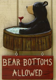 Hot Tub  Sign - Bear Bottoms Allowed on Etsy, $40.00