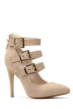 Nude Tri Belt Pointed Toe Heels     #Belt, #Heels, #Nude, #Pointed