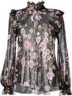 полупрозрачная блузка с цветочным узором