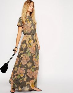 ASOS | ASOS Maxi Dress with High Neck in Bird Print at ASOS