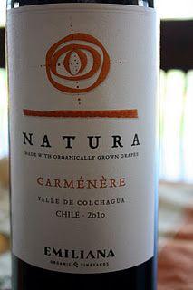 Emiliana Natura Carmenere (organic) $8 - the first wine in the Tour of Chile series