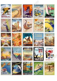 Vintage Travel Posters as Table Numbers
