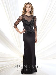 mon cheri bridals 115973 - Crepe slim A-line gown with hand-beaded illusion three-quarter length sleeves, beaded illusion jewel neckline over sweetheart bodice with illusion keyhole back, sweep train, suitable for the mother of the bride and the mother of the groom.  Embellish by David Tutera earring style Monica and bracelet style Jacqueline Bangle sold separately.