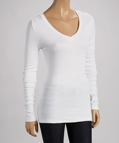 Take a look at this White V-Neck Long-Sleeve Top by Survival on #zulily today!