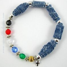 Salvation Bracelet with Handmade Blue Denim Jean Fabric Beads by Casual Day Designs - jewelry for your jeans, via Flickr