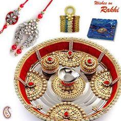 Picture of Metal Foil and Kundan work Rakhi Thali